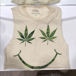 Muscle weed plant smiley crop top